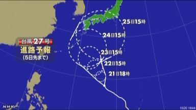 台風27号は?