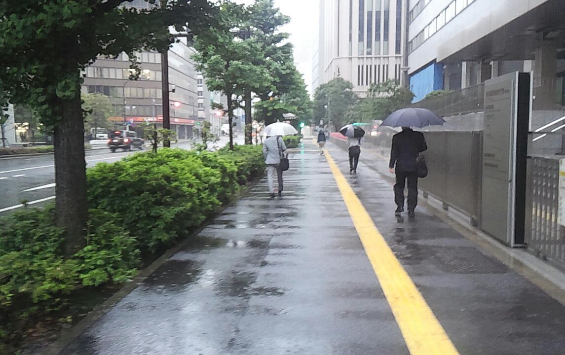 雨の歩き稽古