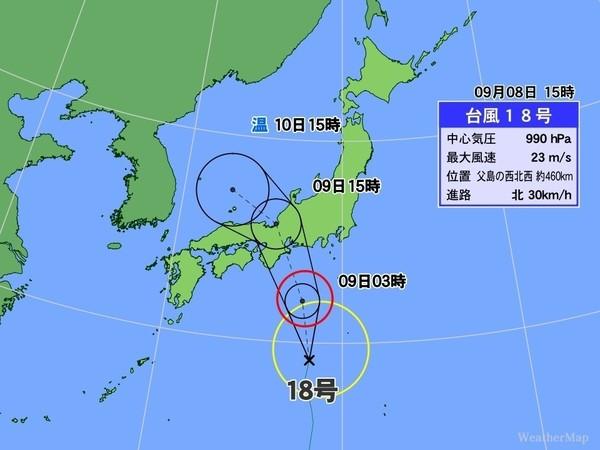 明朝台風上陸