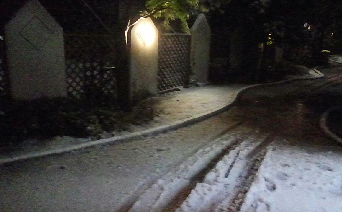 雪が積もって