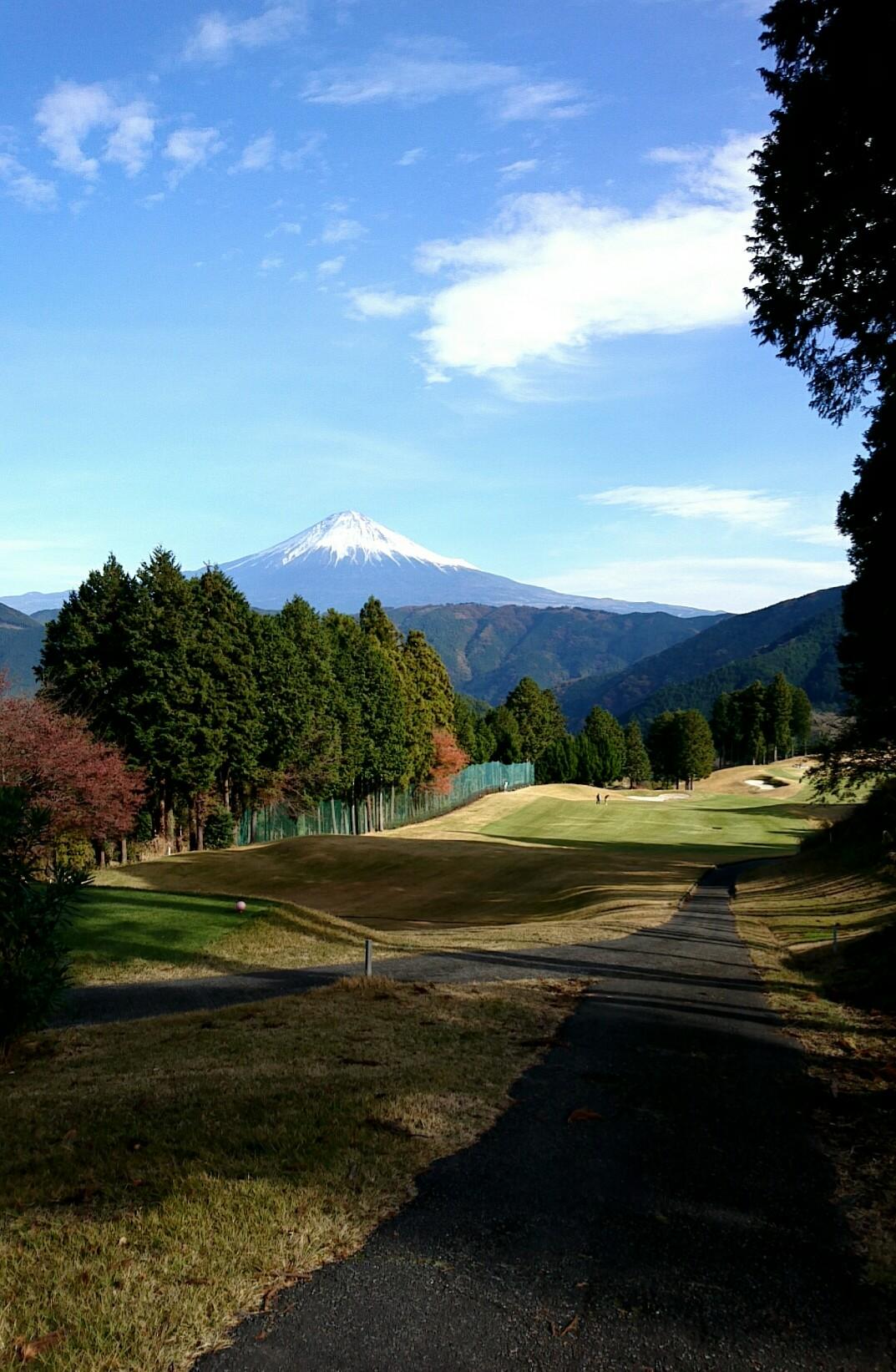 富士山に向かって?