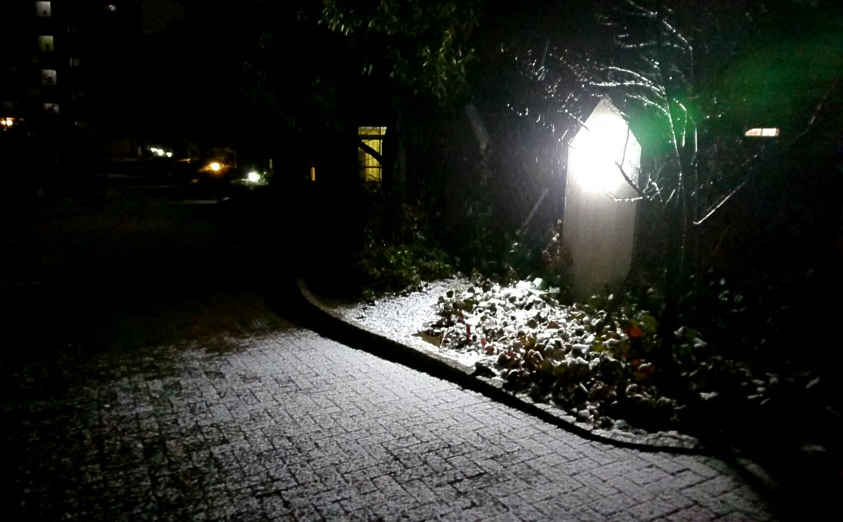夜中に積雪