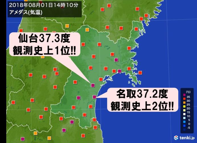 仙台が最高気温記録更新