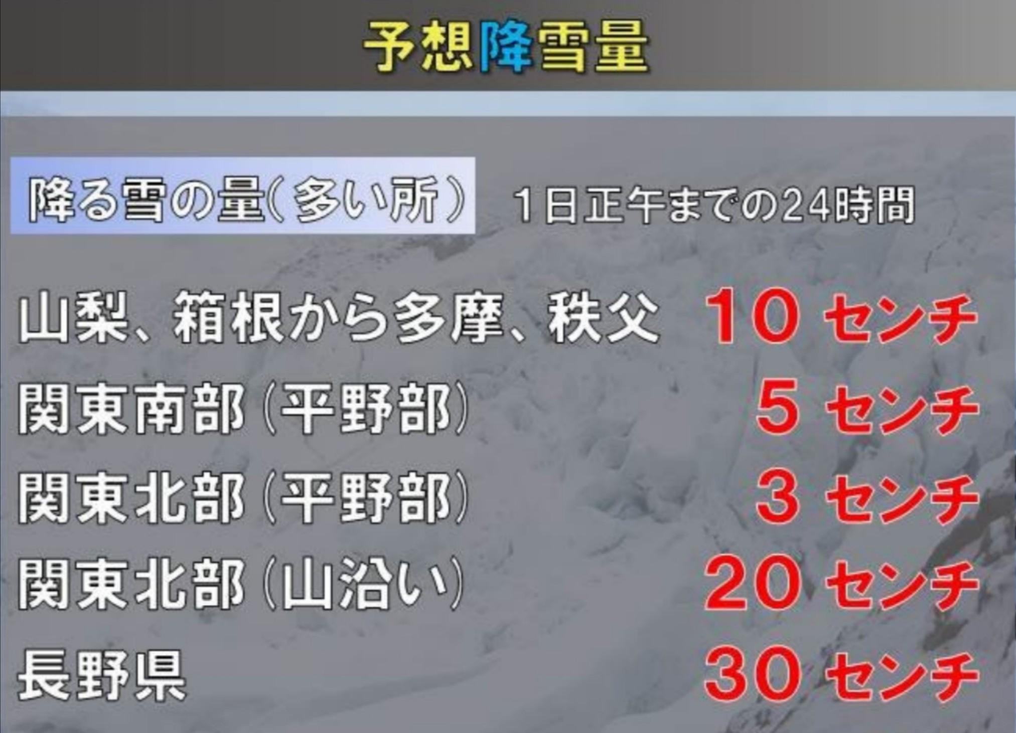 東京は雪?